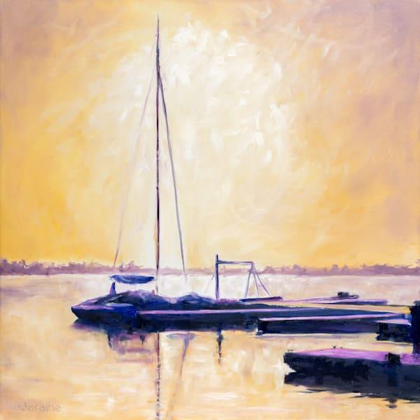 Prints of a painting titled Catamaran Sunrise Silhouette by Burlington artist Janet Jardine - the catamaran was moored at LaSalle Park Marina in Burlington, Ontario
