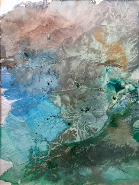 "Earth Art - ""Arial Alluvium"" abstract landscape painting by Sarah Hanson"