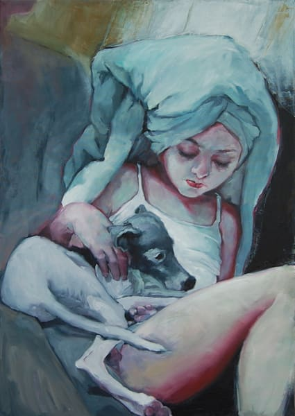 Shop for original paintings like Comforter, oil on canvas by Jude Harzer at Matt McLeod Fine Art Gallery.