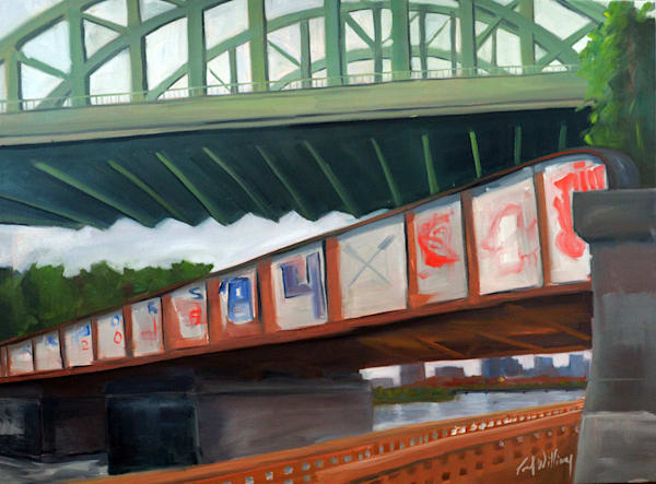 BU Bridge from West Painting by Paul William | 