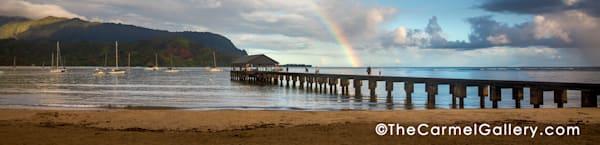 Hanalei Pier Rainbow Rainshowers Kauai