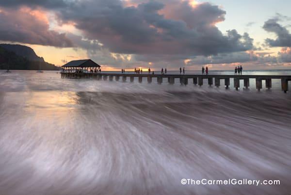 Hanalei Bay pier at sunset