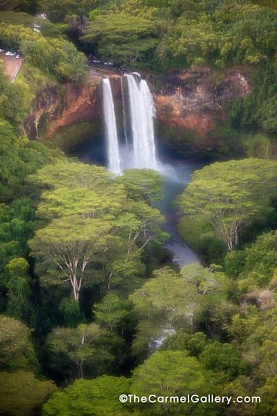 Aerial view of Waimea Falls in Kauai