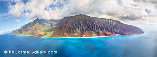Aerial view, blue waters, rugged Napali mountains,north shore of Kauai, Hawaii