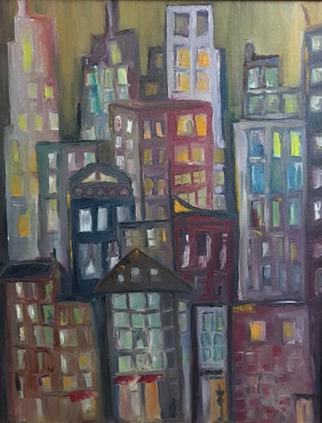 Metropolis original oil painting by Roxy Rich