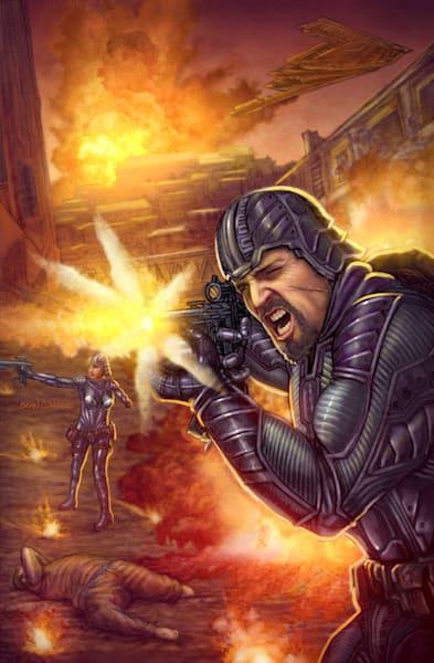 Firefight Continuum sci-fi comic art print