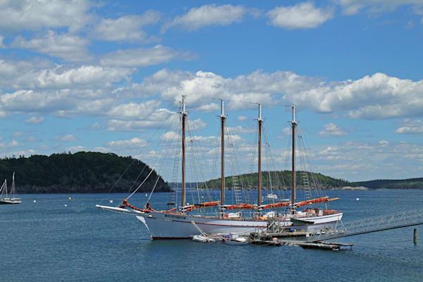 At Bar Harbor, Maine afour masted sailing ship
