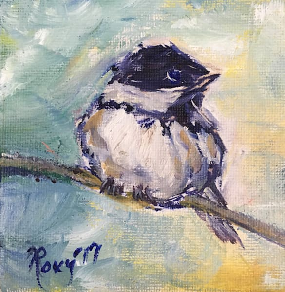 Mini Chickadee original Oil Painting