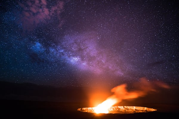 Hawaii Photography | Halemaumau Crater with Milky Way by Matt Kwock