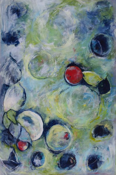 Forbidden Fruit Original Acrylic Canvas Art Painting  For Sale. It's A Vertical Abstract Painting with Circles.