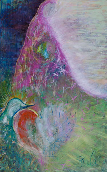 Love Has Arrived, an original acrylic abstract painting, a central figure emanating love, with her messenger to share her great love