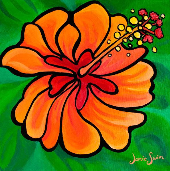 Creamsicle Hibiscus Art by Jamie Swim Art