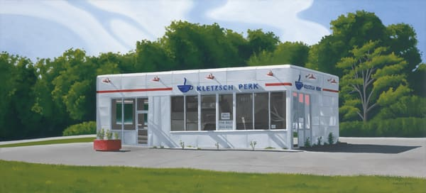 Gas Station, Turned Coffee Shop Painting & Fine Art Prints