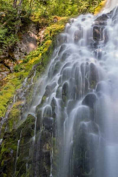 Lacy waterfalls over basalt rocks photo for sale by Barb Gonzalez Photography
