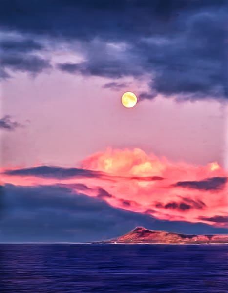 Harvest Moon - Diamond Head painting by Christina Stefani