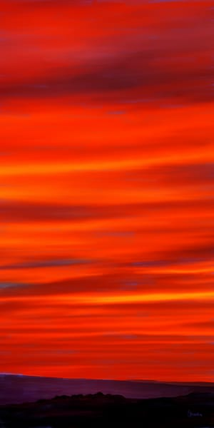 Fire Red Sunset painting by Christina Stefani -print options