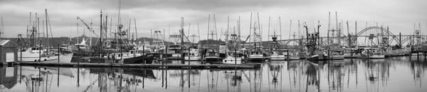 Newport Oregon Boats and Dock Panorama photograph by Richard Stefani for sale
