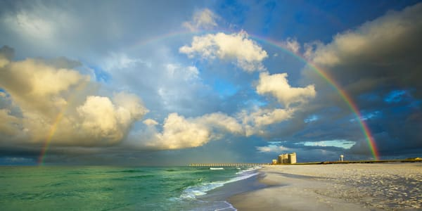Rainbow over Navarre Beach Pier along the Emerald Coast of Florida | Fine Art Prints on Canvas, Paper, Metal, & More | Waldorff Photography