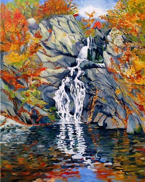 High Falls New York Original Waterfall Oil Painting by New York Artist Michael Serafino - Wet Paint NYC Gallery