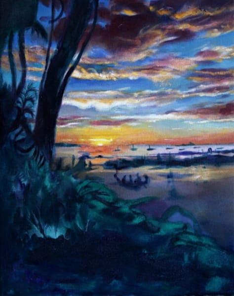 Tamarindo Sunset Original Oil Painting by Wet Paint NYC Artist Michael Serafino