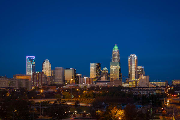Charlotte North Carolina Blue Hour Photograph for Sale as Fine Art