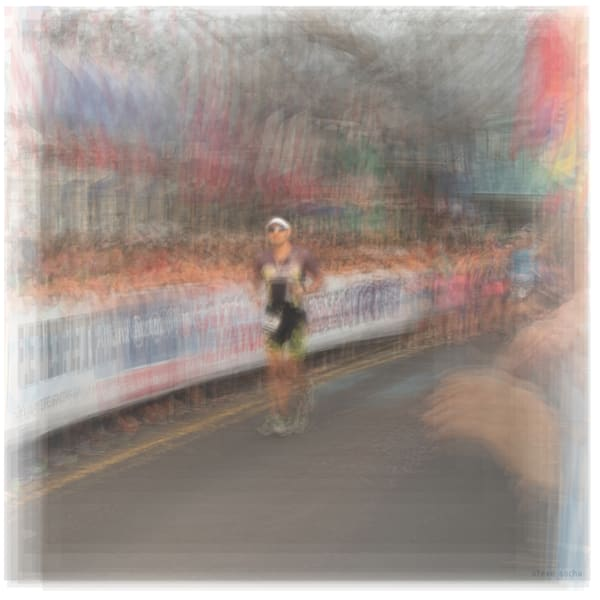 Overlay art – contemporary fine art prints of Ironman triathlon runner.