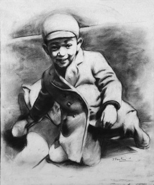 Portrait of Small  Boy