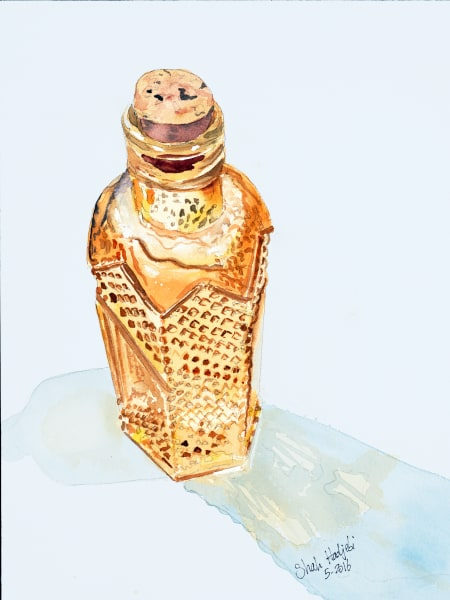 Tiny Amber Bottle - Watercolor painting - Prints available
