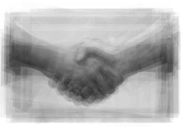 Overlay art – contemporary art prints of a handshake.