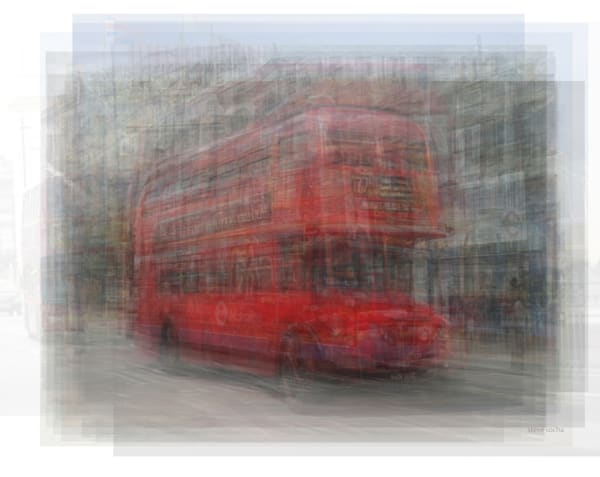Overlay art – contemporary art prints for sale of the red London Bus