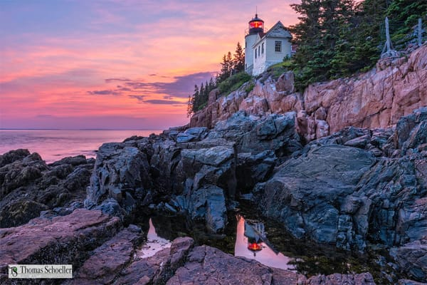 Searching for the perfect lighthouse prints? Let us decorate your space with this sunset of Bass Head Light in Maine