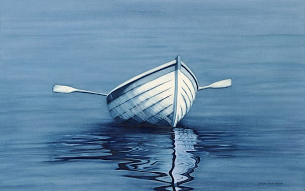 Navy Blue Boat Reflection