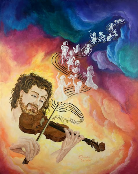 Beautiful Spiritual Painting-Art with a meaning and hidden face in the violin