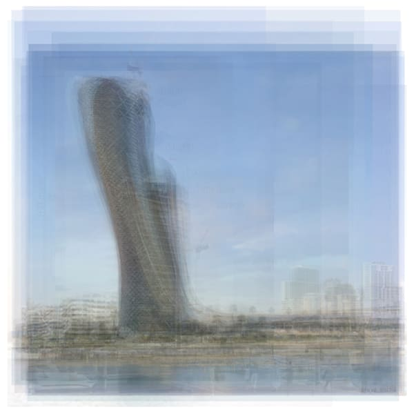 Overlay art – contemporary fine art prints of the Capital Gate Tower in Abu Dhabi