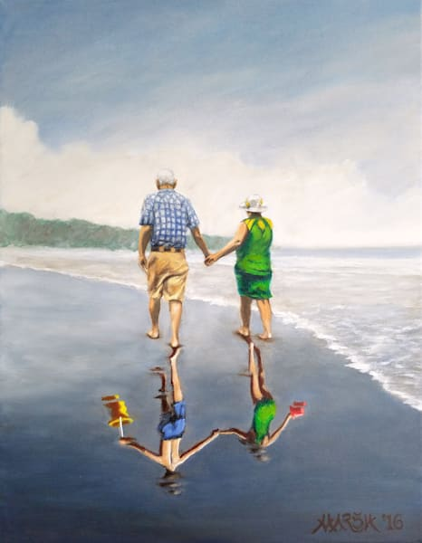 Old couple walking on beach whose reflection is of kids playing art