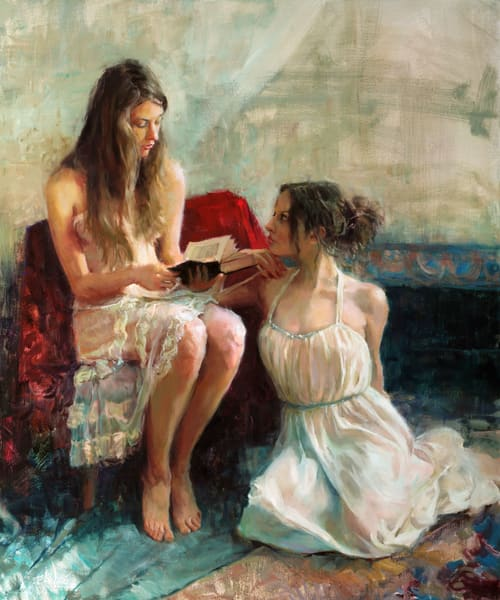 "Print of a painting by Eric Wallis titled ""A Good Read."""