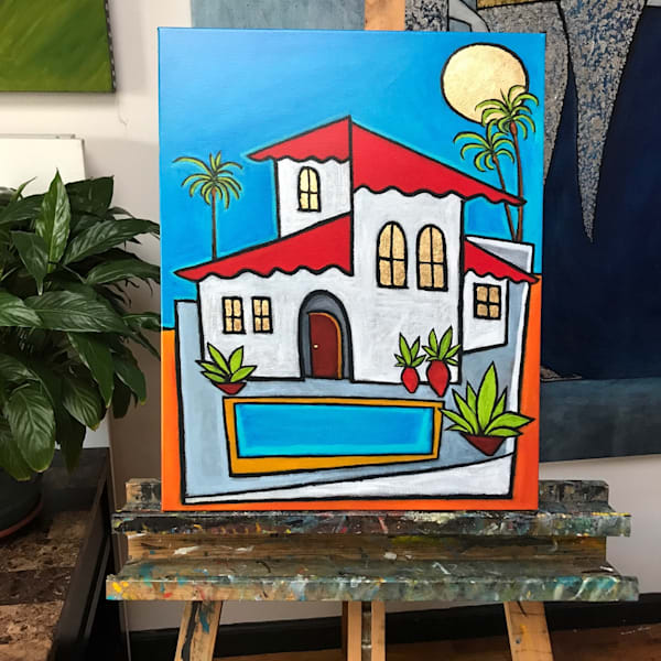 "Spanish Villa - Embellished Print with Gold Leaf on Canvas 16""x20"""