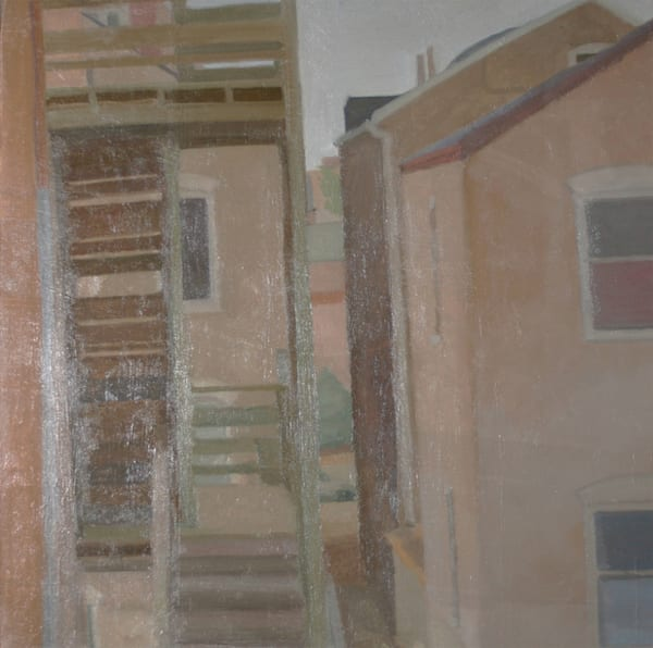 Shop for original paintings like Pilsen Backyard Stoop Chicago, oil on canvas by Shannon Rogers at Matt McLeod Fine Art Gallery.