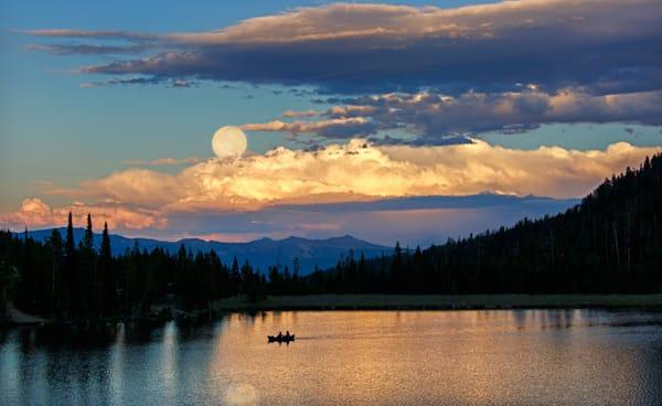 Moon Rise over Montana Lake