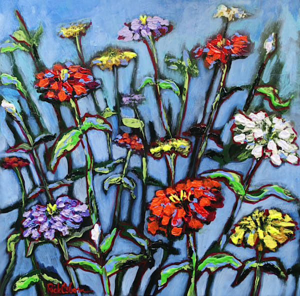 Let Freedom Spring Zinnias on Blue | Fine Art Painting Print by Rick Osborn