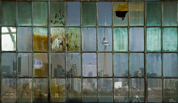Fine art Photographs of theToronto Skyline as seen through industrial window panes for sale by Michael Toole,