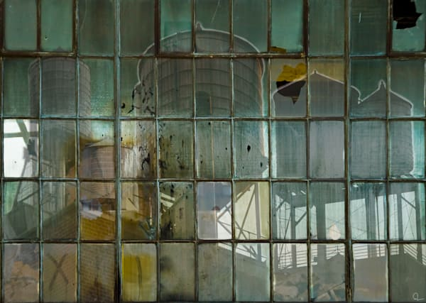 New York Water Towers as seen through industrial leaded windows fine art photographs for sale by Michael Toole.