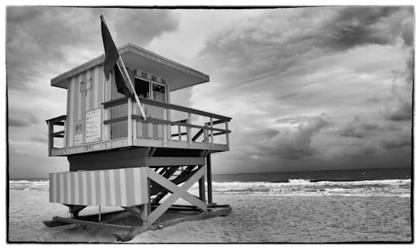 South Beach, Miami, black and white, lifeguard station, fine art photography -prints-for-sale