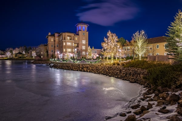 Holiday Photo of Broadmoor Hotel's Lakeside Suites and Bell Tower