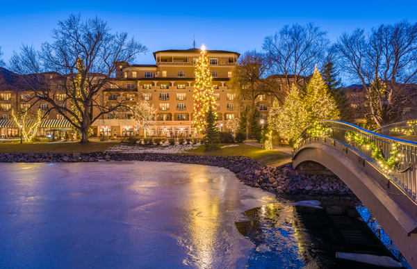 Photo of Broadmoor Hotel West Bridge Decorated with Christmas Lights & Ornaments