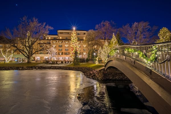 Bridge Over Cheyenne Lake with Holiday Lights Broadmoor Hotel West Complex