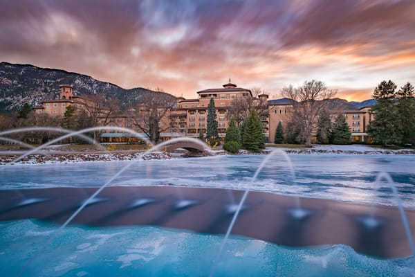 Photo of Broadmoor Hotel West at Sunset with Icy Blue Cheyenne Lake