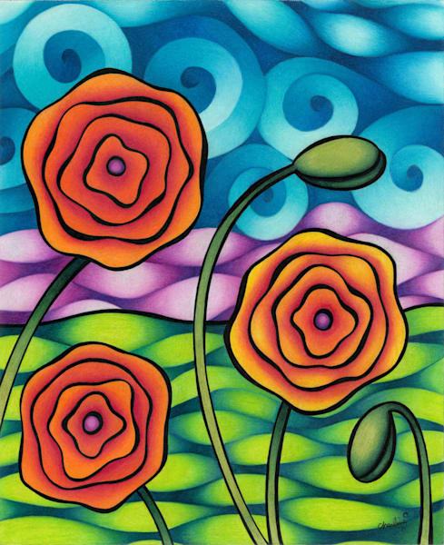 flower art, tree art, color pencil flowers, trees, flowers