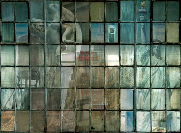New York City scenes as scene though industrial window panes fine art photographs for sale by Michael Toole.