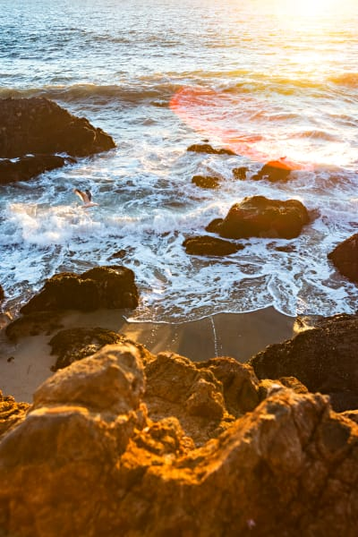 Rocky Shore Sunset At Point Dume Photograph For Sale As Fine Art